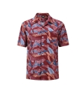 12508  Full Dye-Sub Hawaiian Tropical Leaves Camp Shirt