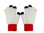 71023  White Red Collar Touch Gloves