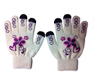 71028  White and Purple Flower Touch Gloves